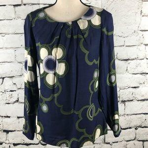 Boden Silk Blend Navy Blue Flower Print Top
